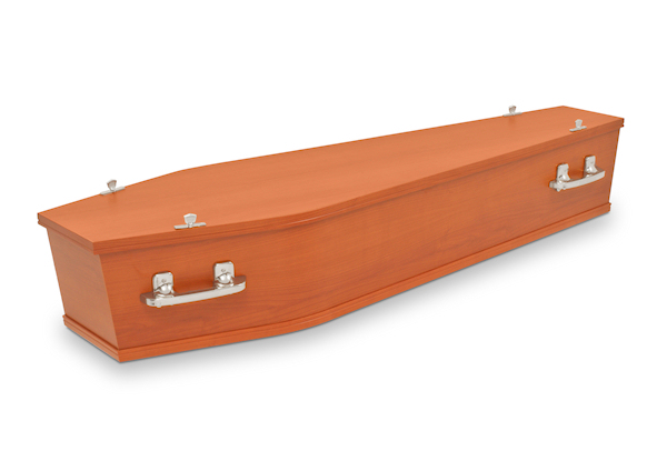 Image of standard coffin for burial funeral and full service cremation